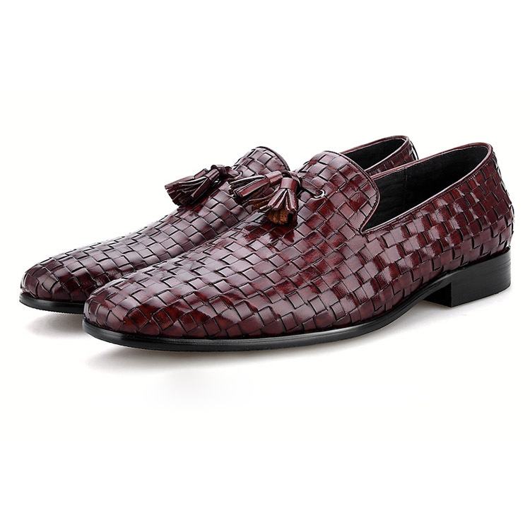 Black / Wine Red Woven Loafers Shoes Mens Summer Shoes Genuine Leather Casual Shoes With Tassel random stripe pattern long sleeves high neck jumper page 3