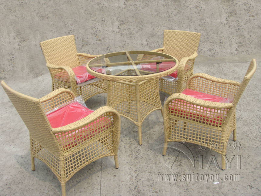 5 Pcs Rattan Garden Dining Sets Outdoor Patio Furniture Chair Set Aluminum Frame Room