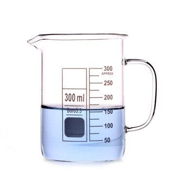 300ml zlewka szklana kubek kubek z uchwytem 3.3 szkło borokrzemianowe szkło laboratoryjne jasne i grube, wszystkie rozmiary w sklepie