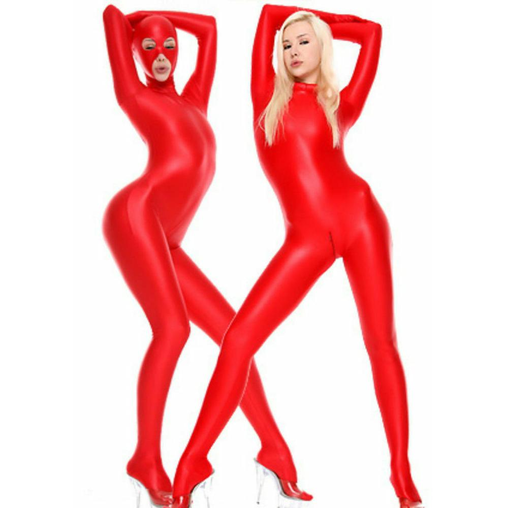 Womens Lycra Zentai Suit Open Eyes Mouth Nose 2 Way Zipper Spandex Catsuit Fancy Costume Bodysuit Unitard Jumpsuit