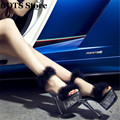 CDTS:34-44 Plolicy Feather summer sexy 15cm ultra high thin heels crystal transparent platform shoes female sandals woman pumps