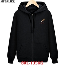 mferlier Hoodies hooded Sweatshirts 8XL black plus large size big 5XL 7XL pull zipper