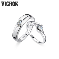 VICHOK 925 Sterling Silver Platinum Plated Lover Ring Women Men Adjustable Charm Jewelry Engagement Rings Valentine