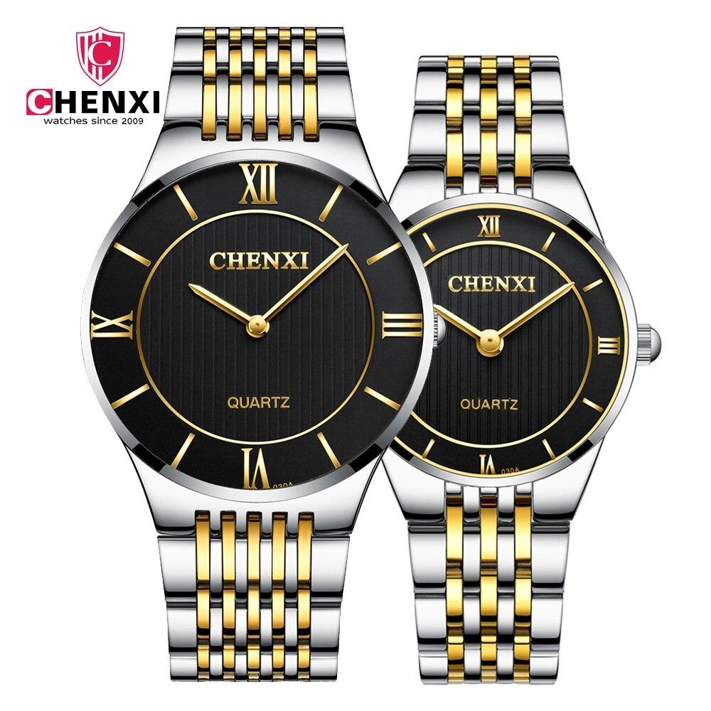 Simple casual Amant Couple Montres De Luxe Or Argent Femmes Hommes Cadeau Montre À Quartz CHENXI Marque Mince Design Élégant Horloge