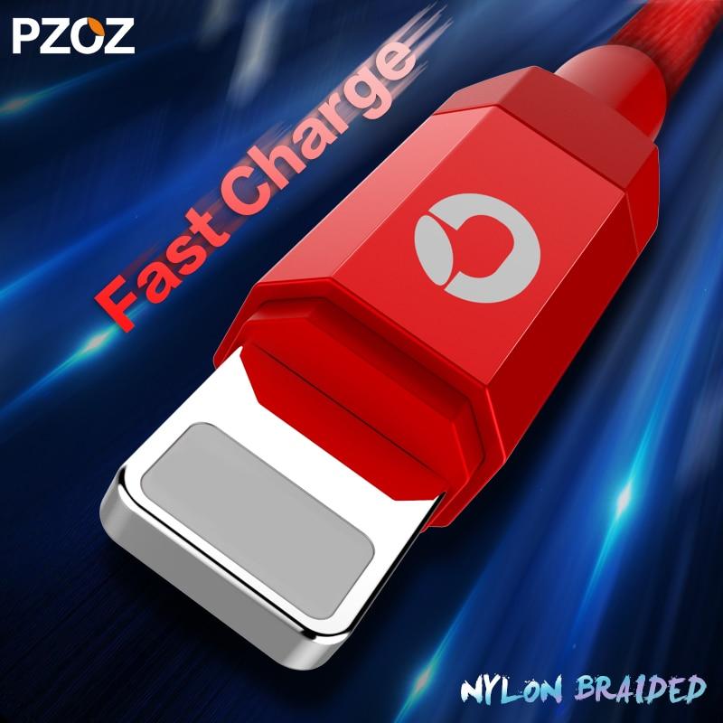 Pzoz кабель для iPhone Зарядное устройство Освещение кабель быстро 2 м iOS 10 USB для IPhone 6S 7 Plus i6 i5 iPhone 5 5S мобильного телефона Кабельное