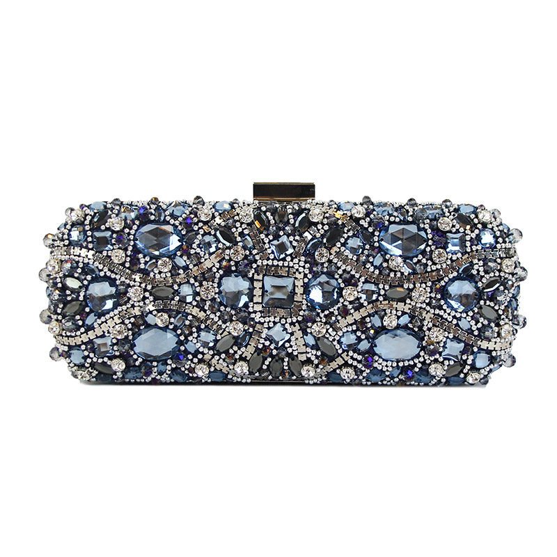 2018 Vintage Day Clutch with Bling Rhinestones for Women, Crystal Clutch with Detachable Chain, Evening Bag