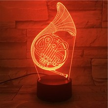 French Horn Usb 3d Led Night Light Multicolor Rgb Boys Child Kids Baby Gifts Musical Instrument Atmosphere Table Lamp Bedside sale novelty buddha usb 3d night light atmosphere led bulbs luminaria nights lamp christmas birthday gifts table rgb lamparas