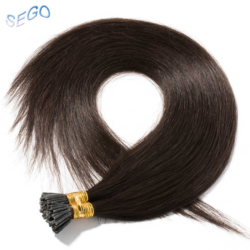 "SEGO 18""20""22"" 1g/s 50g Straight Real Human Hair I Tip Hair Extensions Keratin Capsule Non-Remy Natural Pre Bonded Fusion Hair"