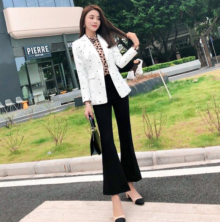 Disegni Affari Del Il E Ufficio Signore Stili Casual Usura Blazer Dei Giacca Nero bianco Vestiti Pantaloni Set Bianco Con Di Lavoro Uniformi Modo Delle Donna Ol N0wnOPk8X