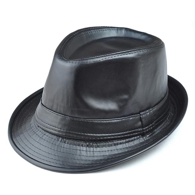 Chapéu de couro masculino chapéu jazz chapéu chapéu de feltro chapéu de inverno térmica chapéu quinquagenário três tamanhos