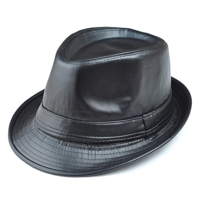 Leather hat male jazz fedoras hat winter thermal hat quinquagenarian hat three sizes