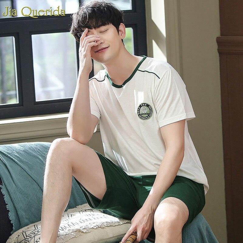 Men Leisure Suits 2pcs Pj Set 100% Cotton White Top Green Shorts Pijama Set Summer Short Night Wear Cotton Sleepwear Pajama Sets