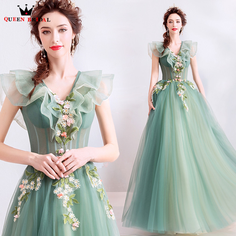 2019 New Fashion Evening Dresses A-line V-neck Tulle Lace Pearls Beaded  Green 2f09669720e0