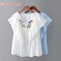 Amourlymei V Neck Sweet Ruffles Flower Embroidery Cotton Shirt Mori Girl 2017 Summer New Women Blouse