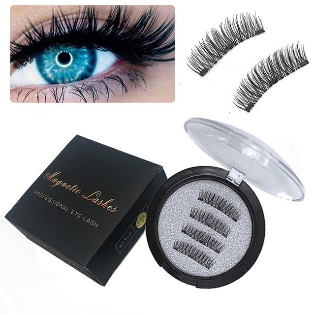 3 Magnetic Eyelash Extension 3D Eyelashes on the magnet False Eyelashes Handmade Fake Eye Lashes Thicker Cross Reusable 24p-3