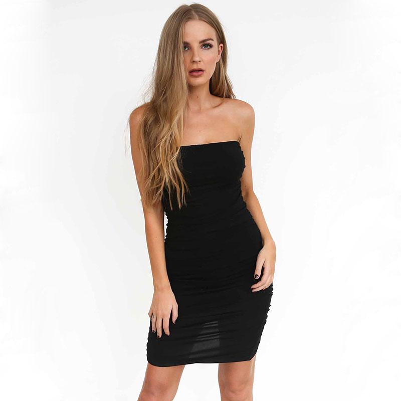Fashion Solid Elastic Sexy Women Dress Sleeveless Slash Neck Sheath Strapless Womens Dresses Tube