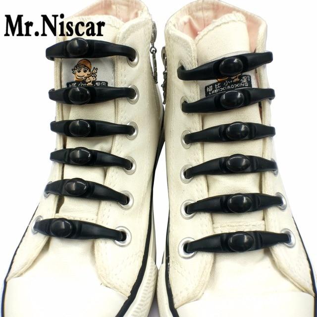 Mr.Niscar 1Set/12Pcs No Tie Shoelaces Men Women Kids Shoe Silicon Laces Shoelace Elastic Silicone Shoe Laces for All Sneakers