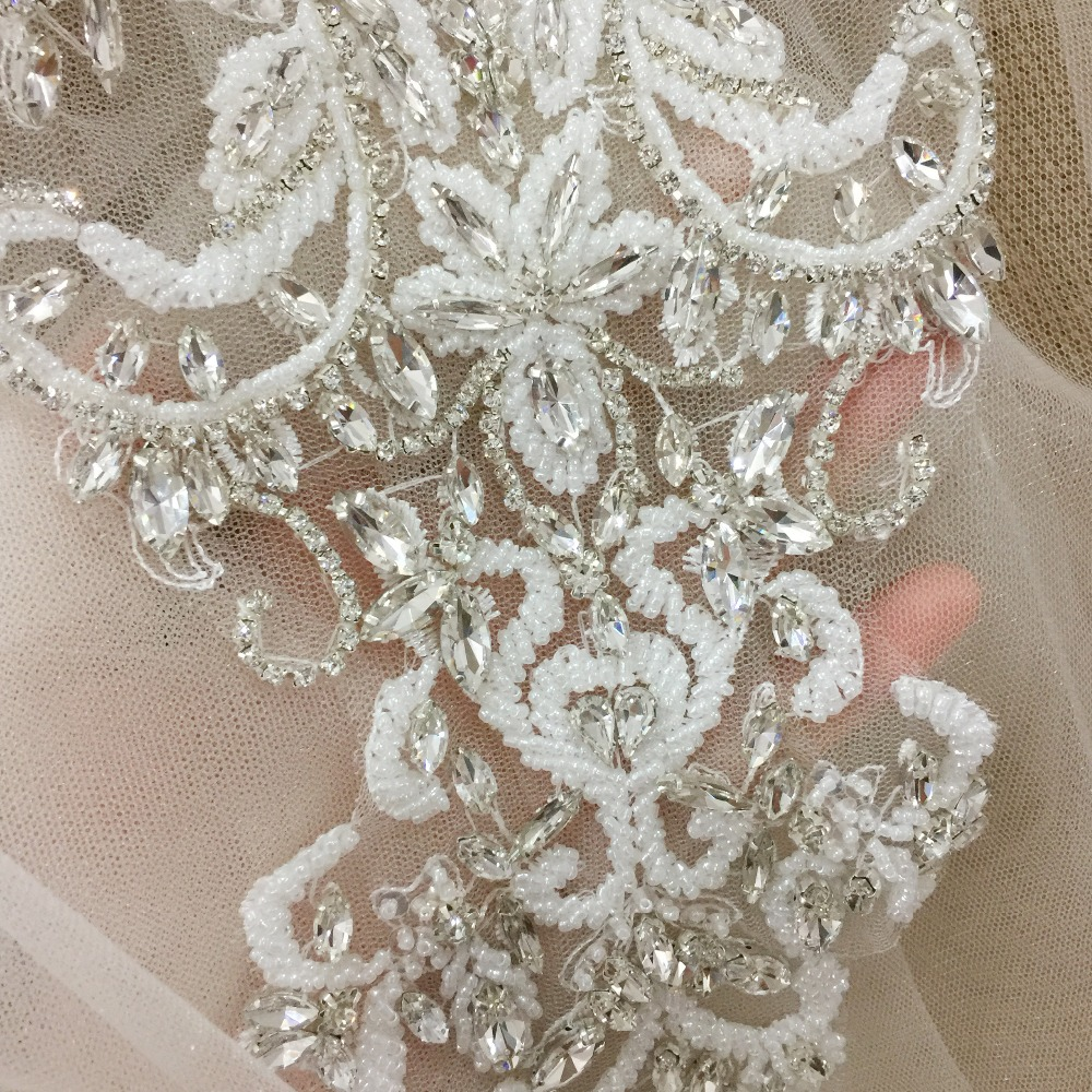 1 pc Deluxe 3D Flower Rhinestone Applique , Clear Crystal Beaded Applique for Bridal Sash, Wedding Sash Belt , Couture Bodice