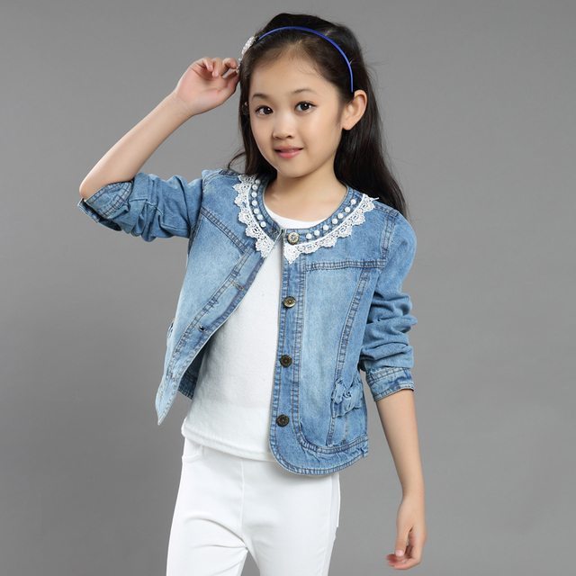 04204acea 2018 Children's Autumn Clothing Girls Fashion Lace Embroidery Spliced Denim  Jacket Kids Spring Short Casual Coat Outerwear G791