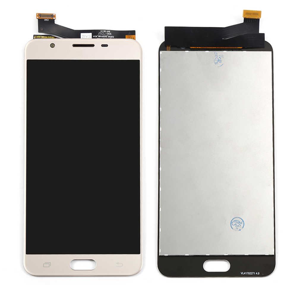 G610f شاشات lcd لسامسونج غالاكسي J7 رئيس شاشة G610F G6100 G610M شاشة الكريستال السائل محول الأرقام بشاشة تعمل بلمس أجزاء لسامسونج J7 رئيس lcd