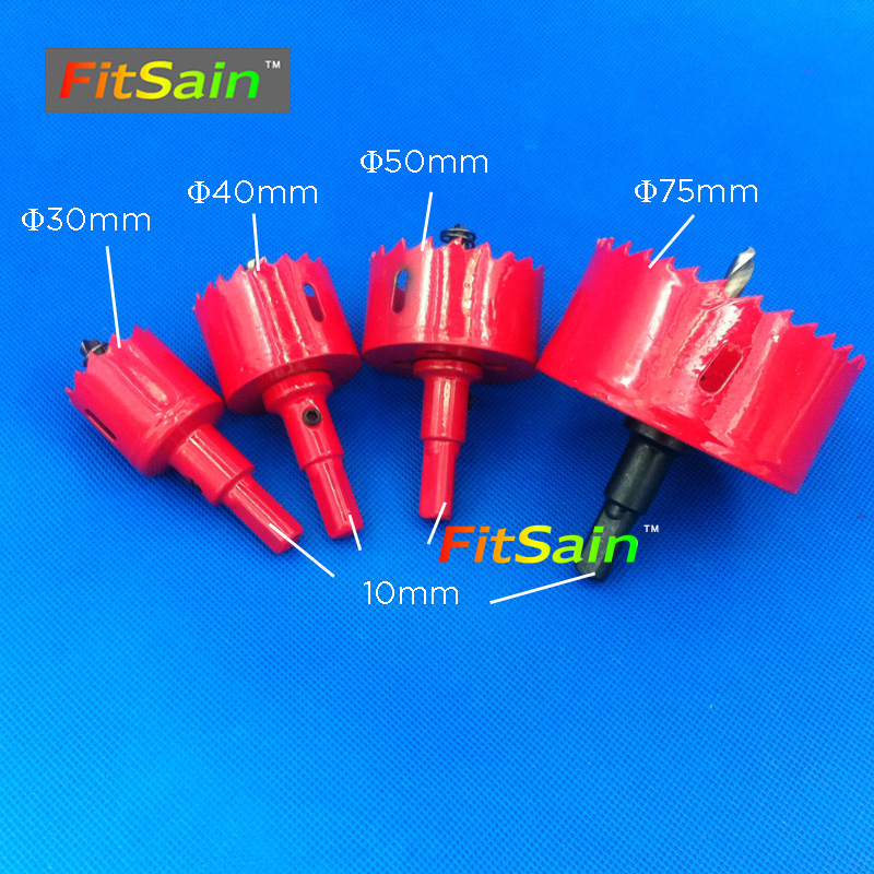 FitSain-4pcs M42 Drilling Hole Saw Cutting Kit Opener Hole Saw Set Aluminum Iron Pipe Plastic Wood Drill Bit Cutter new 50mm concrete cement wall hole saw set with drill bit 200mm rod wrench for power tool