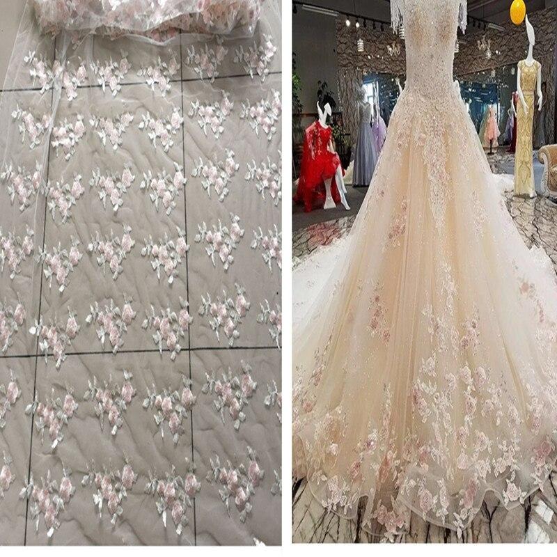 3e099ed33a9 1 м лот блесток вышитые Ткань сетка Ткань Африканский Кружево Материал шить  свадебное платье халат