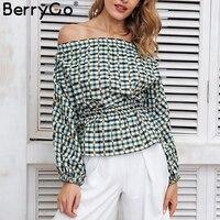 BerryGo Off Shoulder Plaid Sexy Blouse Shirt Women Elastic Waist Lantern Long Sleeve Blouse Chic Streetwear