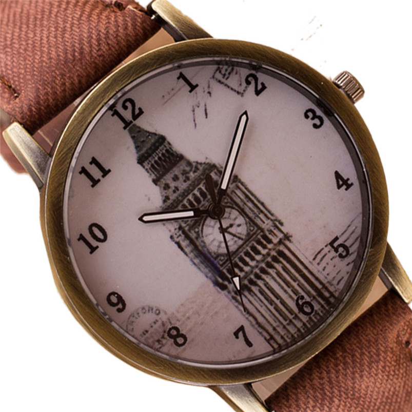 2017 Relogio feminino Famous Womens Fashion Retro Clock Tower Wrist Watch Cowboy Leather Band Analog Quartz Watch Hot Sale hot new fashion quartz watch women gift rainbow design leather band analog alloy quartz wrist watch clock relogio feminino
