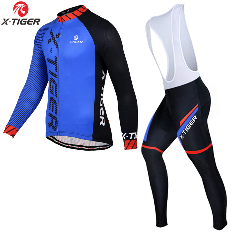 X Tiger Winter Thermal Fleece Cycling Jersey Set Long Sleeve Bicycle Clothing MTB Bike Wear Maillot