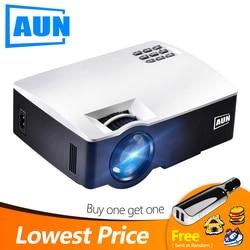 AUN LED Proyector AKEY1/Plus للمسرح المنزلي ، 1800 لومن ، ودعم كامل HD جهاز عرض صغير (اختياري أندرويد 6 دعم 4K الفيديو)
