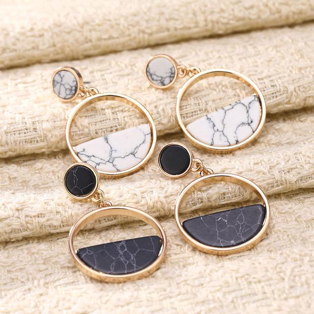 Geometric Marble Earrings