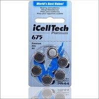 Бесплатная доставка 30 шт. icelltech высокая производительность батареи слухового аппарата цинко-Воздушный аккумулятор 675/A675/PR44 Батарея для слух...