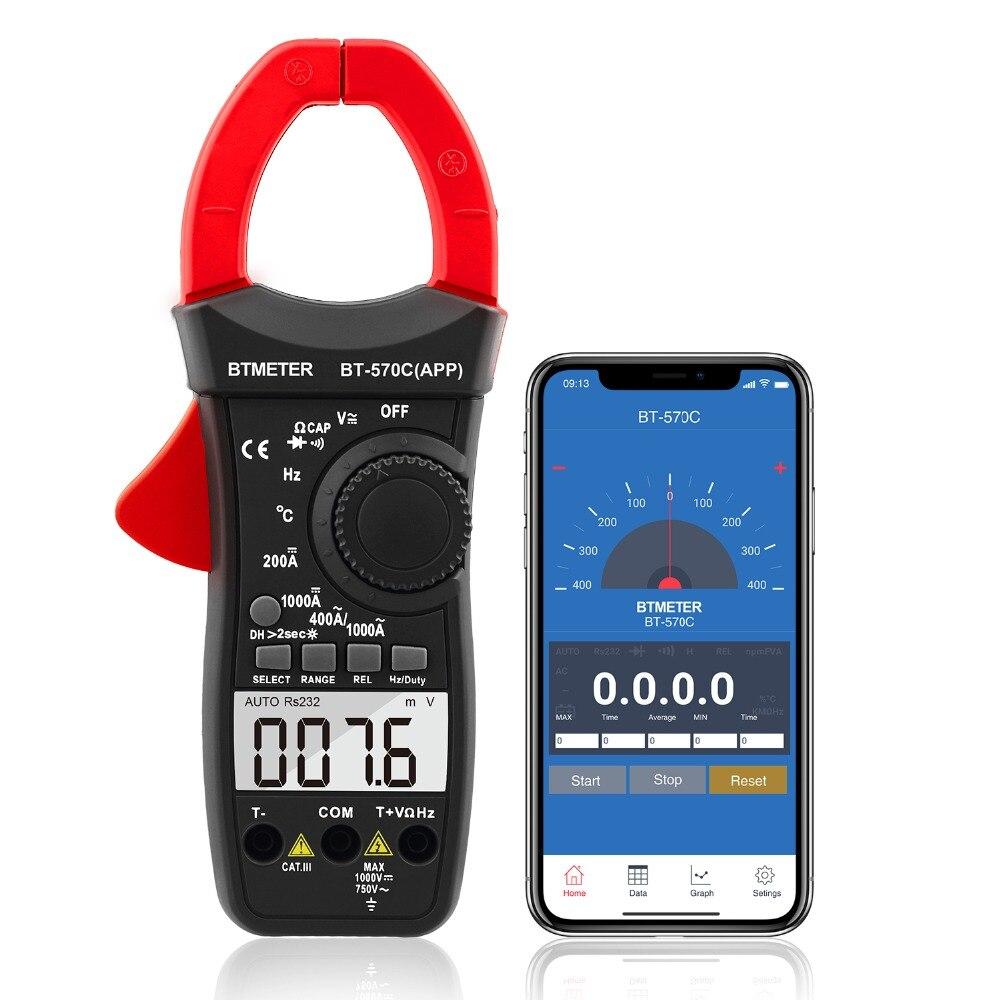 Clamp Multimeter BT 570C APP Auto Range AC DC Clamp meter 4000 Counts Resistance Temperature data