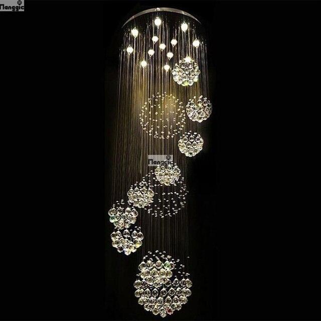 Heet verkoopnieuwe spiraal LED kristallen kroonluchter K9 crystal chandelier in the lobby living room stairs