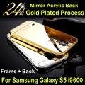 Caso para Galáxia S5 Luxo Ultra Fino Quadro de Alumínio do Metal + acrílico espelho de volta caso capa para samsung galaxy s5 i9600 telefone saco