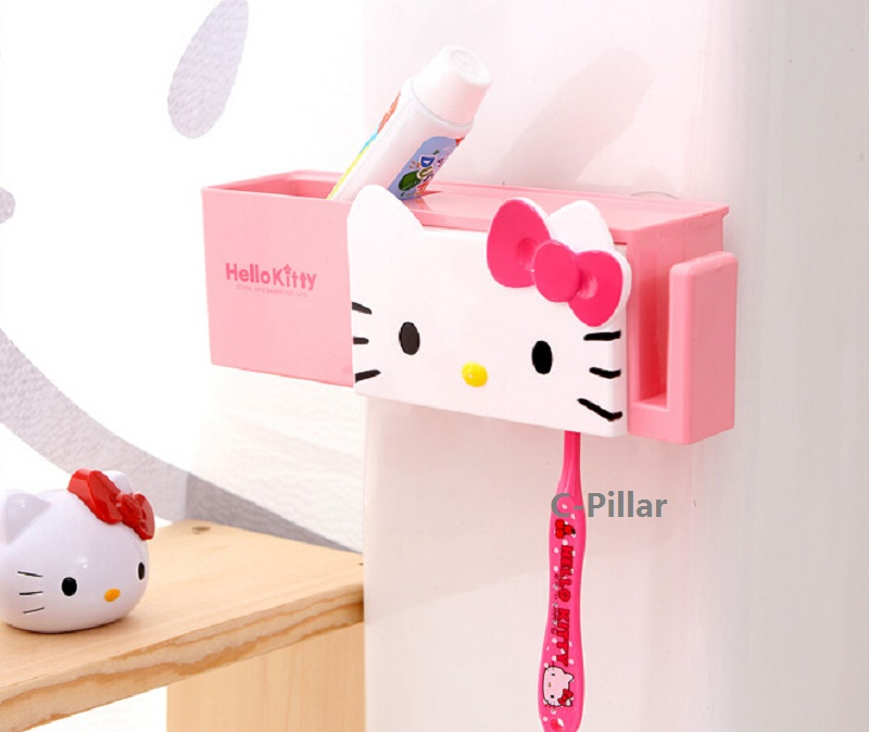 Cartoon Toothbrush Holder, Hello Kitty Stand Tooth Brush Shelf Sucker Multifunction Bathroom Accessories Sets Free Shipping image