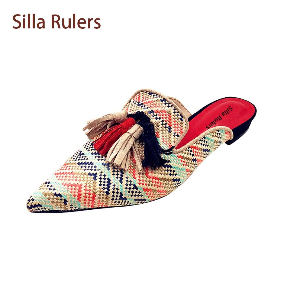 Здесь продается  Silla Rulers Colorful Knit Tassel Slipper Women Pointed Toe Low Heel Fringe Shoes Fashion Lady SlingBack Shoes Lazy Women Slides  Обувь