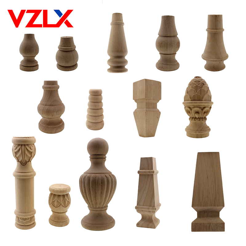 VZLX Furniture Legs Floral Wood Carved Decal Corner Appliques Frame Woodcarving Decorative Wooden Figurines Crafts Home Maison