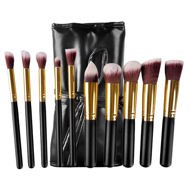 10 unids Kit Del Cepillo Del Maquillaje Negro Pincel de Maquillaje de Oro con PU bolsa de Cepillo de la Fundación Pincel de Maquillaje Herramienta de Alta Calidad del Polvo de Cara sombra de ojos