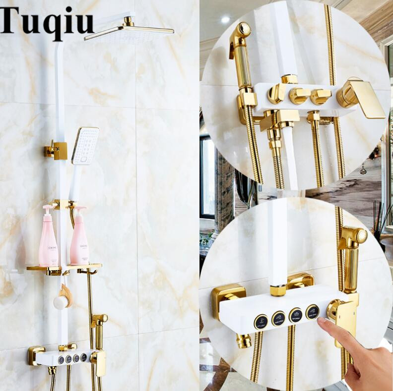 Europe style luxury bath and shower faucet brass gold and white wall mounted shower faucet set with rainfall shower head