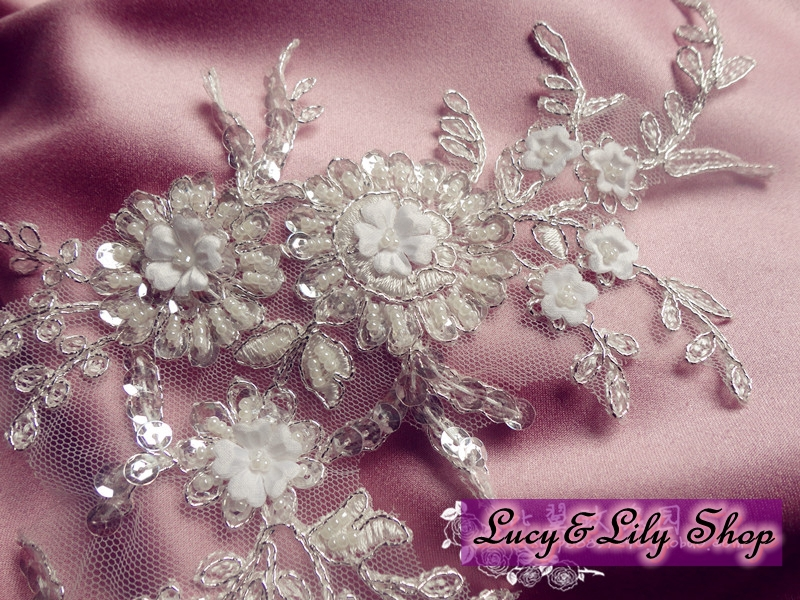 Cm ivory bridal beaded lace applique embroidered tulle mesh