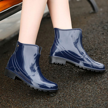 2019 New Rain Boots Waterproof Rubber Boots Fashion Women Boots Non-slip Women Shoes Black Ladies Shoes Slip On Water Shoes