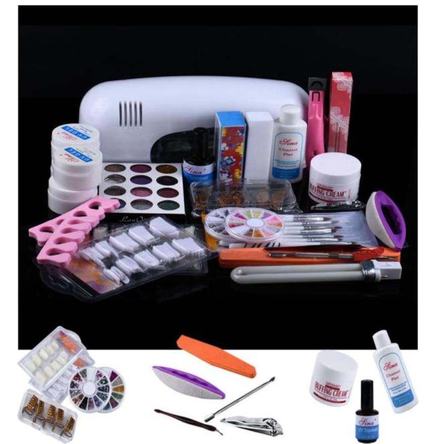 25 in 1 Combo Set Professional DIY UV Gel Nail Art Kit 9W Lamp Dryer Brush Buffer Tool Nail Tips Glue Acrylic Set att 138 pro nail polish eu us plug 9w uv lamp gel cure glue dryer 54 powder brush set kit at free shipping
