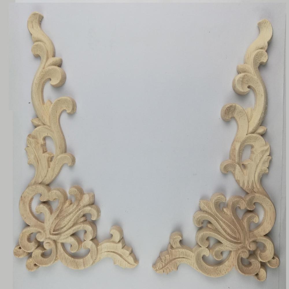 Wood Carved Corner Onlay Applique Frame Door Decorate Wall Doors Furniture Decorative Modern 20X10CM Figurines Wooden Miniatures