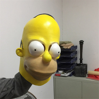 Homer Simpsons Latex Masks Simpson Props Funny Cosplay Mask Halloween Cosplay Fancy Party Full Face adult Carnival Prop Dress mata bor amplas