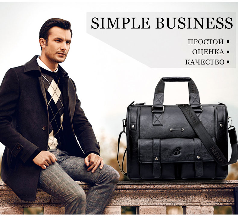 HTB19hqjB8mWBuNkSndVq6AsApXaS Scione Men Thicken PU Leather Briefcase Large Capacity Laptop Business Messenger Shoulder Bag High Quality Travel Office Handbag