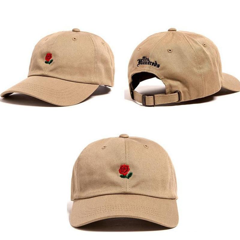 100% Baumwolle Rose Stickerei Hut Schwarz Cap Blank Snapback Hip Hop Papa Kappe Designer Hüte Männer Frauen Visier Hut Skateboard Gorra Knochen
