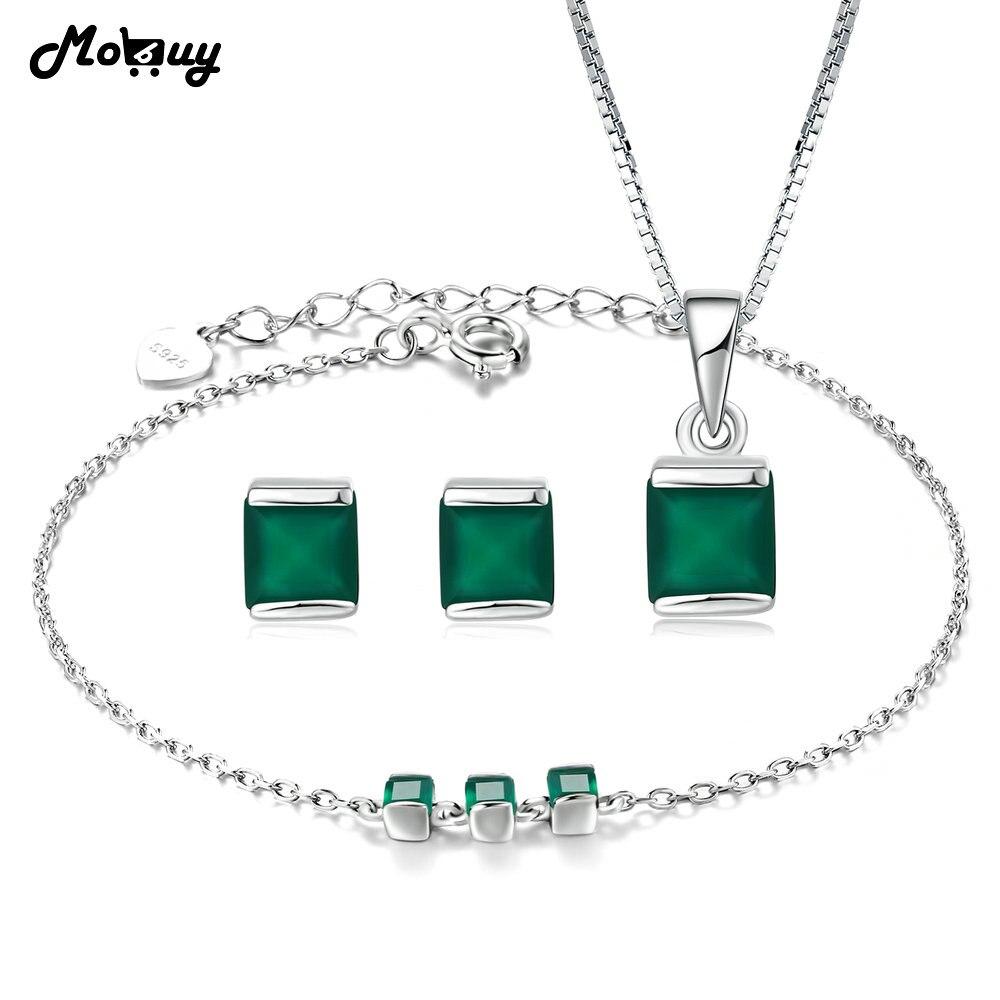 f7ca48aa67 MoBuy Trendy Jewelry Sets Natural Gemstone Green Chalcedony 100% 925 ...
