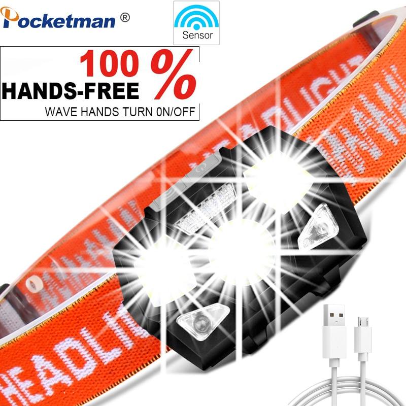 6000 lumens LEVOU Farol Super Brilhante Sensor de Movimento Hands-free Poderoso USB Recarregável head lamp luz Do Farol À Prova D' Água