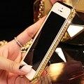I6 plus capa de bling del rhinestone cristalino de aluminio de parachoques del metal case para apple iphone 6 4.7 6 plus 5.5 diamante duro de la cubierta protectora